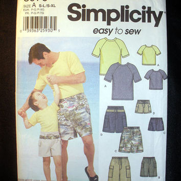 Daddy and Me Boy's and Mens's Shorts and Knit Top Easy to Sew Pattern Simplicity 5976