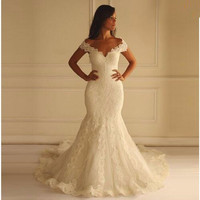 Hot Sale Long Lace Mermaid Wedding Dresses Sexy V-Neck Bridal Gowns Unique Design Back