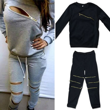 2015 New Sport Suit Women Cotton Sweatshirt 2 piece set Women Long Sleeve Sexy Zipper Sweatshirts Suit