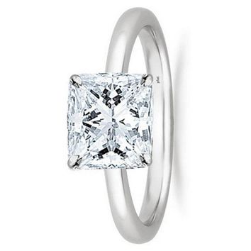 .1/2 - 2 Carat GIA Certified Platinum Solitaire Princess Cut Diamond Engagement Ring (G-H Color, VS1-VS2 Clarity)