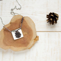 Cone necklace, hand sawn necklace, silhouette necklace, forest jewelry, woodland necklace, long necklace, christmas jewelry, gift for her