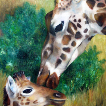 Original Oil Painting- Mother and Baby Giraffe - African Habitat - Nursery Room