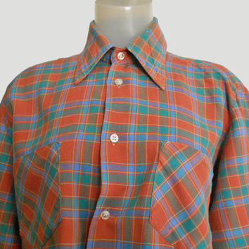 Men's Vintage 50's Rockabilly Plaid Flannel Long Sleeve Shirt 1950's