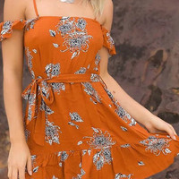 Orange Floral Print Off Shoulder Self Tie Frill Hem Mini Dress