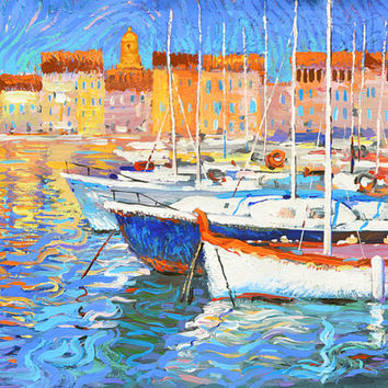 """Original painting """"Evening light"""" Modern acrylic  Palette Knife Painting by Dmitry Spiros. Ready to Hang. 32 x 24 in. 80 x 60 cm"""