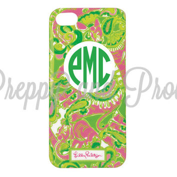 Lilly Pulitzer Inspired Iphone 5-5s Case Custom With Monogram|LIMITED Quantities|Chin Chin|Personalized|Monogram|Agenda|Phone|Camelbak