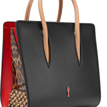 Christian Louboutin - Paloma small studded matte and patent-leather tote