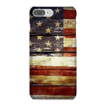 Retro American Flag on Wood Planks Phone Case