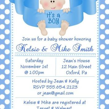 10 It's A Boy Baby Shower Invitations Light Skin