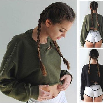 Tops Autumn Ripped Holes Batwing Sleeve Crop Tops [6446618756]