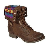 SM New York- -Women's Jaclyn Cuffed Blanket Combat Boot - Brown-Shoes-Womens-Boots
