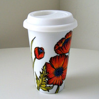 Ceramic Travel Mug Red Poppies Flowers Autumn Orange Fall Botanicals Eco Friendly coffee cup green leaves