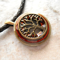 tree of life necklace: rust - mens jewelry - leather cord - boyfriend gift - celtic jewelry - man necklace - nature necklace - unique