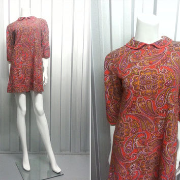 Vintage 60s Paisley Mod Mini Dress Peter Pan Collar Psychedelic Print Scooter Dress Half Sleeve Keyhole Back Dress Retro 1960 Clothing Shift
