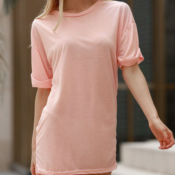 Solid Color Folded Sleeve Basic Tee
