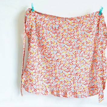 Vintage Red Flower Print Apron, Frilled Half Apron with Pocket Blue, Turquoise, Yellow, 1960s Kitchen