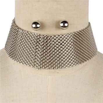 "13"" gold mesh chain bib collar choker necklace .50"" earrings 1.50"" wide"