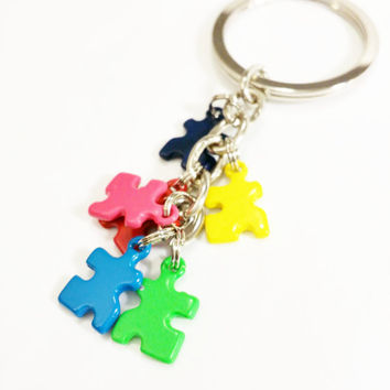 Autism Awareness Key Chain / Autism Charms / Autism Dad / Puzzle Keychain / Autism Support / Autism Awareness / Puzzle Charm / Autism Mom