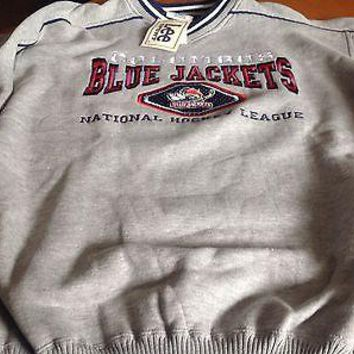 COLUMBUS BLUE JACKETS NHL EMBROIDERED SWEATSHIRT LEE SPORT SHIPPING!