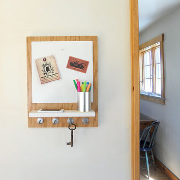 AREA:  wall mount shelf whiteboard organizer magnetic board key rack message organization center white natural wood entry decor