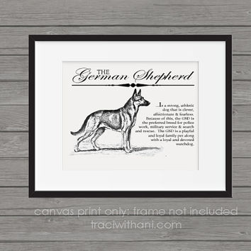 German Shepherd / GSD Storybook Style Canvas Print: Dog, Wall Art, Rustic, Vintage, Antique, Decor, Artwork, DIY, Breed, Gift, k9, police