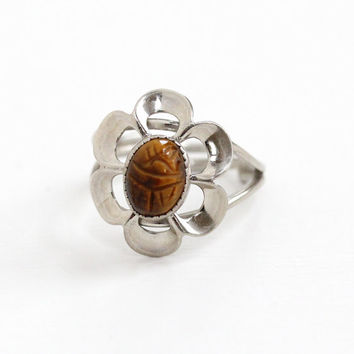 Vintage Sterling Silver Tiger's Eye Scarab Ring - Retro Egyptian Revival Flower Motif Hallmarked Beau Adjustable Statement Beetle Jewelry