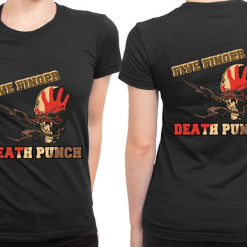 Five Finger Death Punch Retro 2 Sided Womens T Shirt