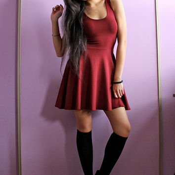 Oxblood Bamboo Skater Dress - XS, S, M, L