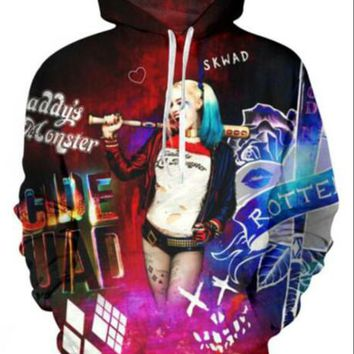 Newest Fashion Womens/Mens Suicide Squad Harley Quinn Joker Funny 3D Print Casual Hoodies Pullovers Sweatshirts LMS0081