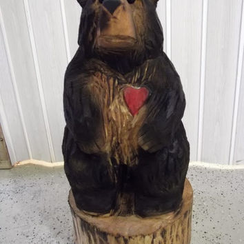 Chainsaw Carved Black Bear With A Carved Red Heart