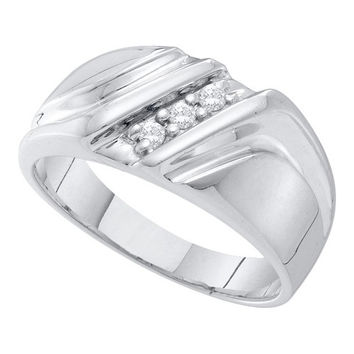 Diamond Fashion Mens Band in 10k White Gold 0.1 ctw