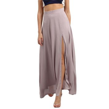Beach Wear Purple Split Front Chiffon Maxi Skirt Summer New Style Ladies High Waist Long Skirt