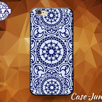 Blue Mandala Pattern Floral Flower Boho Cute Rubber Custom Case For iPhone 4 and 4s and iPhone 5 and 5s and 5c and iPhone 6 and 6 Plus +