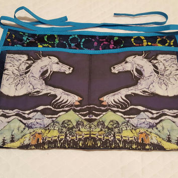 Flying Pegasus Quilted Apron for Horse Trainers, Horse Lovers, Dog Agility - Batik Art Swatch