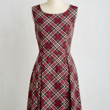 Mid-length Sleeveless Fit & Flare I Rest My Grace Dress in Plaid