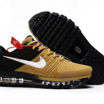 ONETOW Nike Air Max 2017 Kpu. Gold, Black & White Men's Running Shoes Trainers