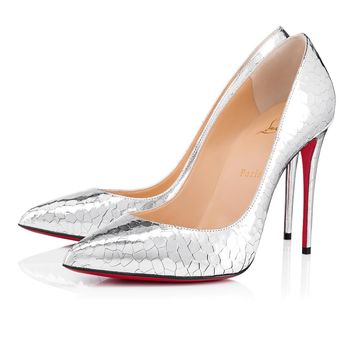 Pigalle Follies 100 Silver Patent Leather - Women Shoes - Christian Louboutin