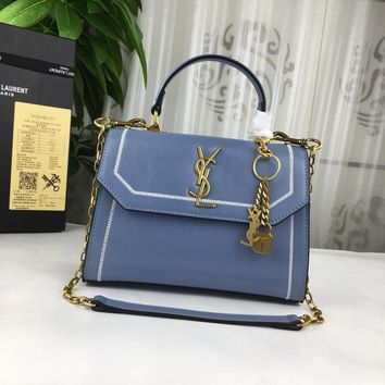 DCCK S011 Saint Laurent Paris Fashion YSL Cowhide Cracked Handbag 26-20-10cm Blue