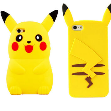 2017 New Style Anime Cartoon 3D  Monsters Pokemon Pikachu Cute Silicone Back Cover Case For iPhone 4s 5 5s 6 6 7plus