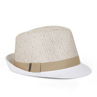 White BCBG Mixed Straw Fedora Hat