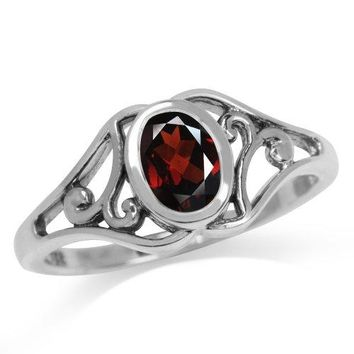 Natural January Birthstone Garnet 925 Sterling Silver Filigree Solitaire Ring