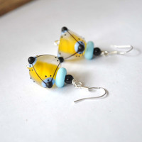 Funky Yellow Triangle Earrings, Artisan Lampwork Glass Earrings, Geometric Earrings