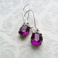 Vintage Earrings Amethyst Purple Glass Dangles Accessories Gift Idea For Her Stocking Stuffer Under 15