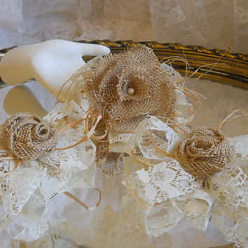 Set of 3 Country Cake Toppers, Bows or Corsages, handmade of burlap, raffia, ivory lace, wheat. Ready to Ship!