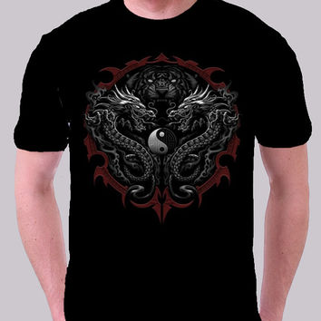 Dragon-Tiger T-Shirt Twin Dragons Yin-Yang Bengal Tiger Available in Black!