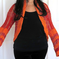 Orange knit shrug, lacy color block sweater jacket, fine hand knit outerwear