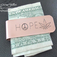 Marijuana, Money Clips for Men, Cannabis, Birthday Gift for Boyfriend, Weed, Husband Gift, Gift for Him, Copper Money Clip