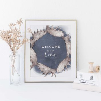 Welcome to Our Home Cabin Lodge Wall Art Print