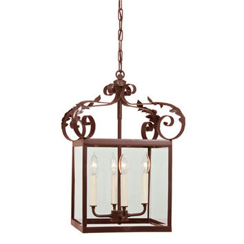 JVI Designs 3012-22 Scroll Large Rust Four-Light Lantern Pendant with Glass shade