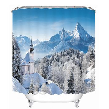 Latest Castle and Mountain 3d Printing  Bathroom Curtain Shower Curtains Hot Bathroom Waterproof Bath Curtain with Hooks